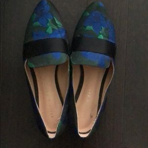 Blue and green floral flats